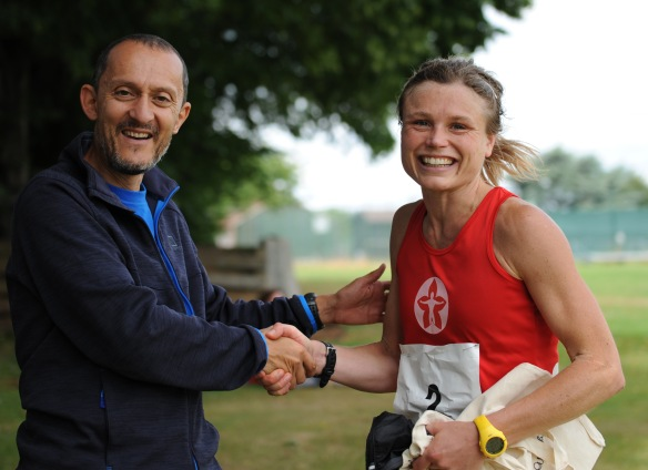 Alice Addison winner of the 2014 Croydon Ultra receiving her prize from race Director Ian Campbell